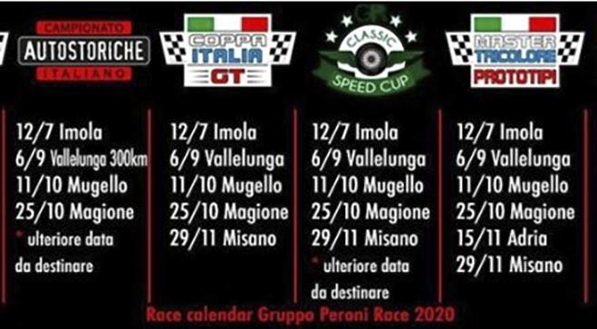 Aggiornamento calendario 2020 Gruppo Peroni Race   RMC Motori